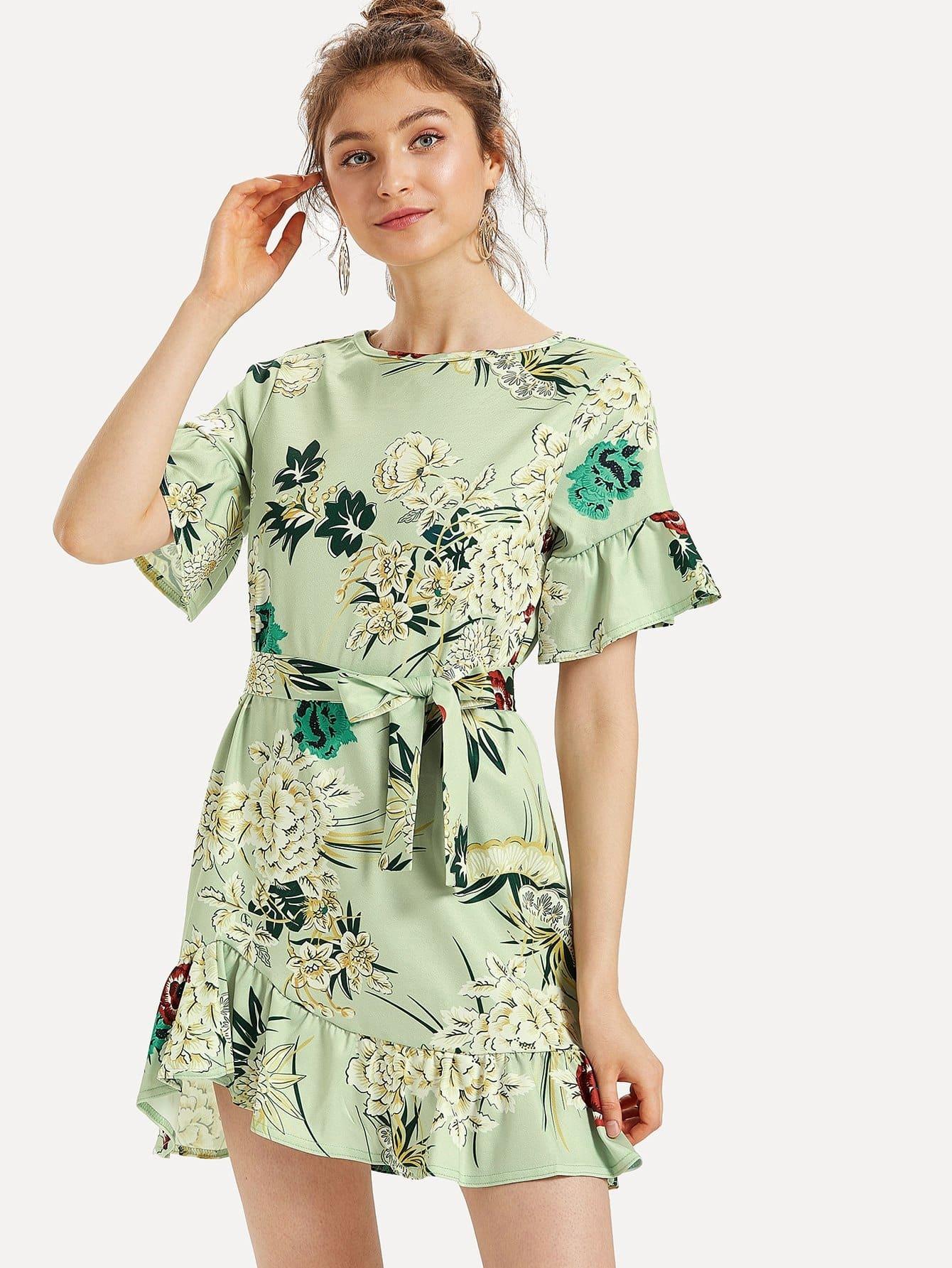 Floral Print Ruffle Hem Belted Dress ruffle waist belted peg pants