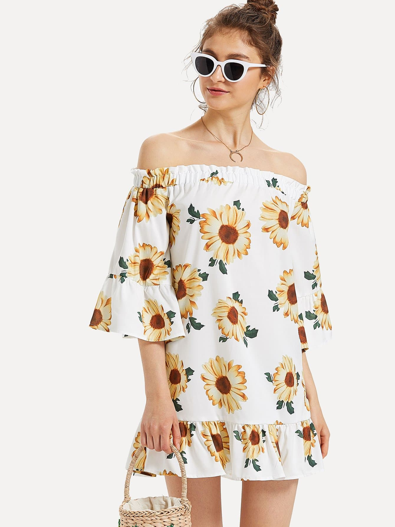 Off Shoulder Floral Print Ruffle Hem Dress stylish off the shoulder lemon print girl s mini dress