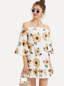 Off Shoulder Floral Print Ruffle Hem Dress