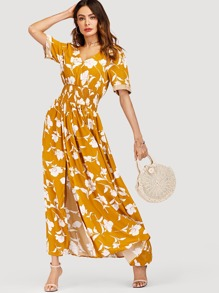 V Neckline Floral Print Split Dress