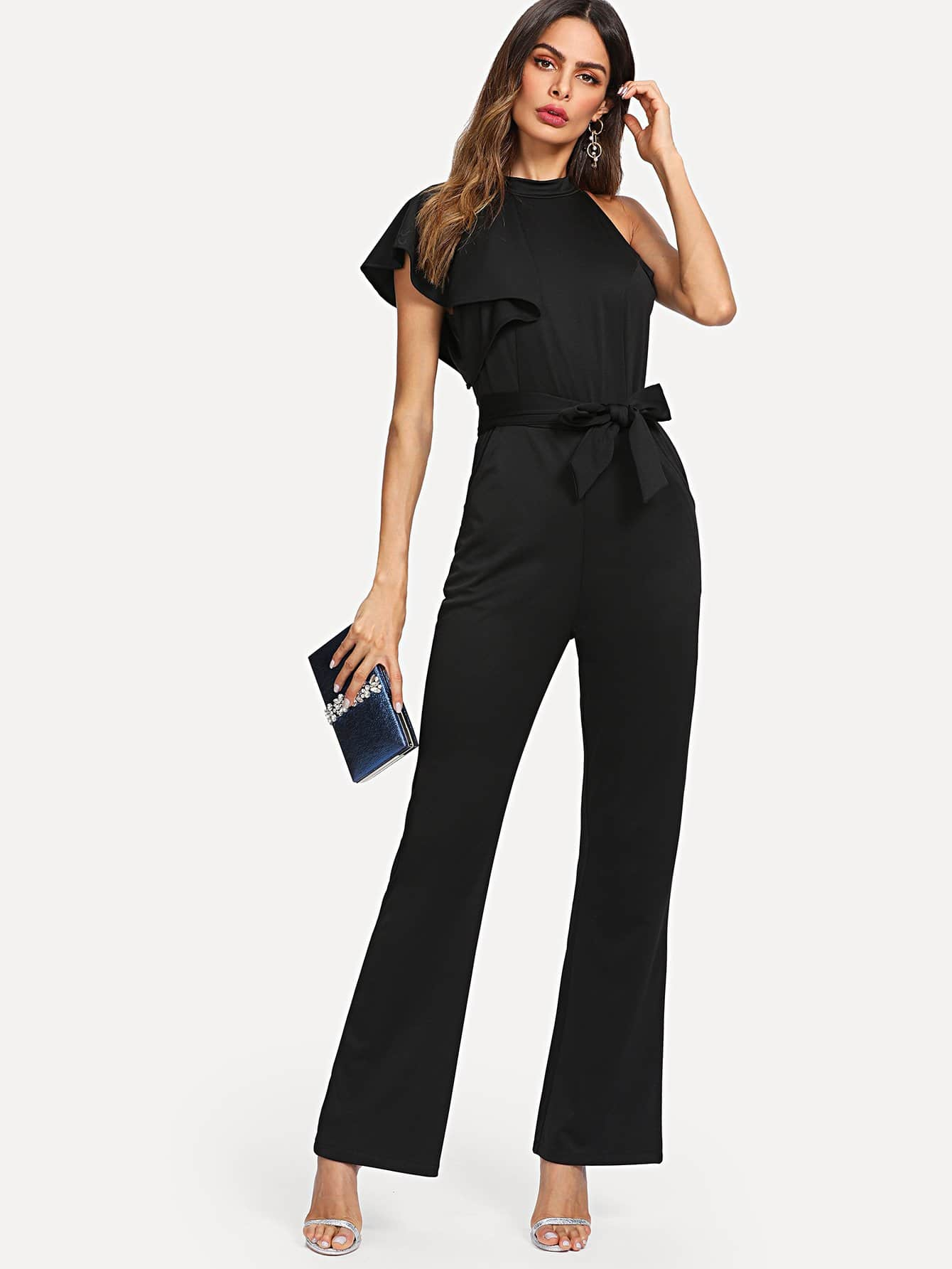 Self Tie Waist One Side Ruffle Sleeve Jumpsuit self tie waist batwing sleeve dress