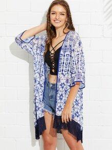 Fringe Hem Split Side Printed Kimono