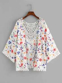 Contrast Hollow Crochet Floral Print Kimono