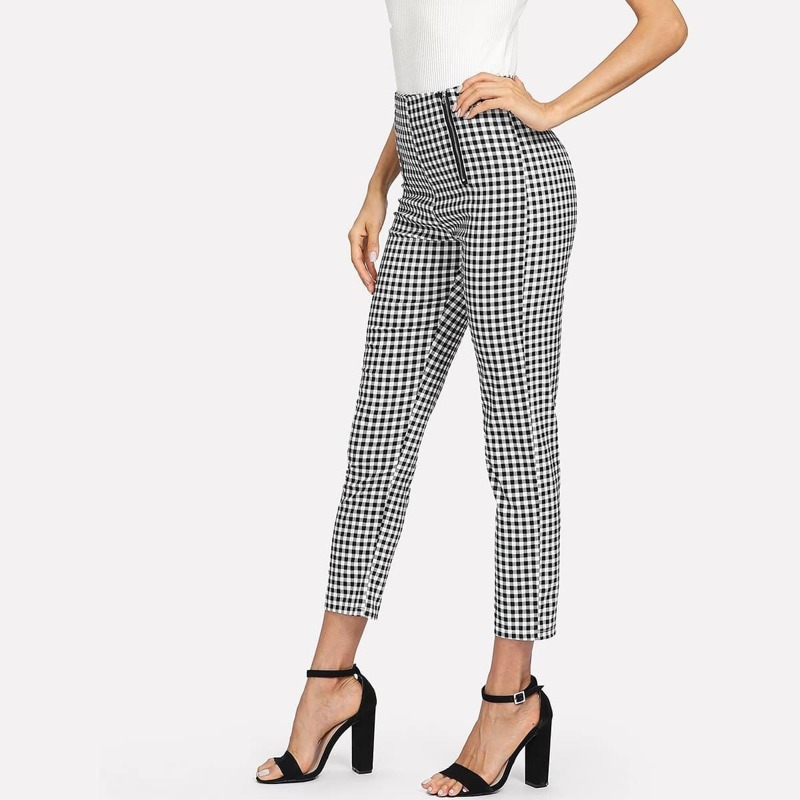 Zip Front Gingham Pants, Black and white