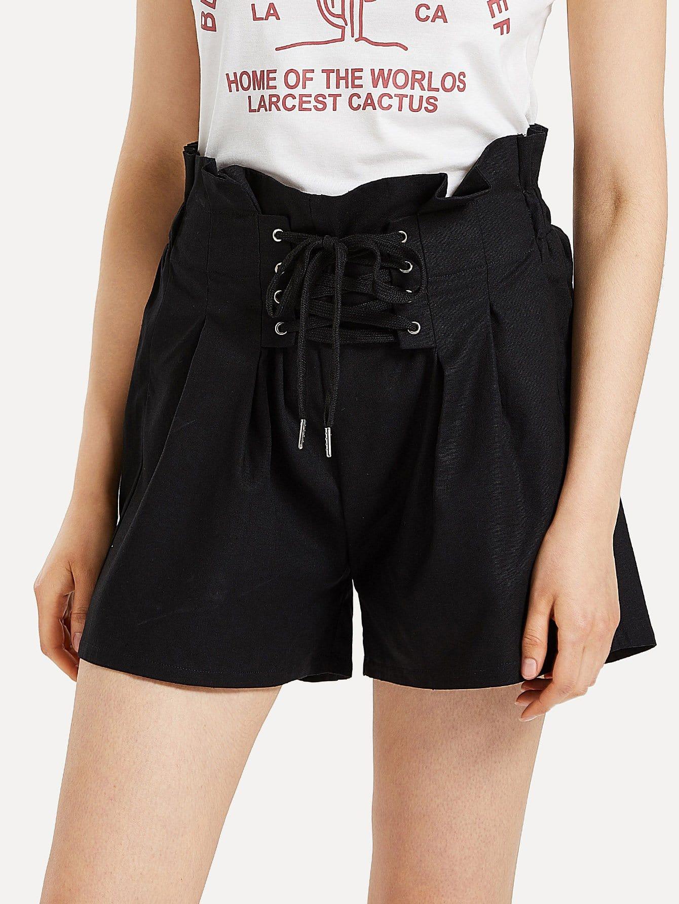 Eyelet Lace Up High Waist Shorts burgundy mini elastic velvet high waist lace up front shorts