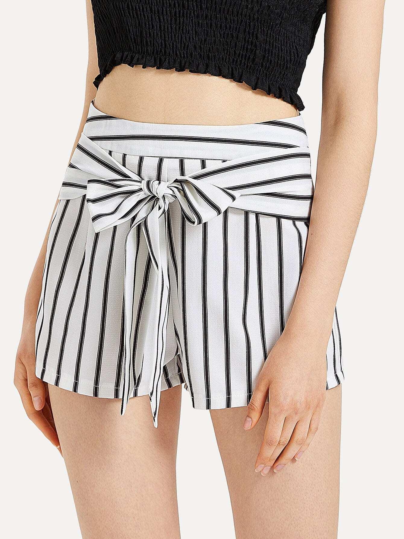 Bow Tie Front Striped Shorts bow tie front drop shoulder sweatshirt