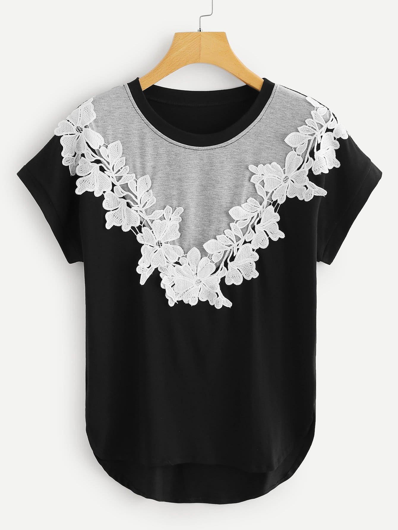Contrast Panel Guipure Lace Tee guipure lace panel top
