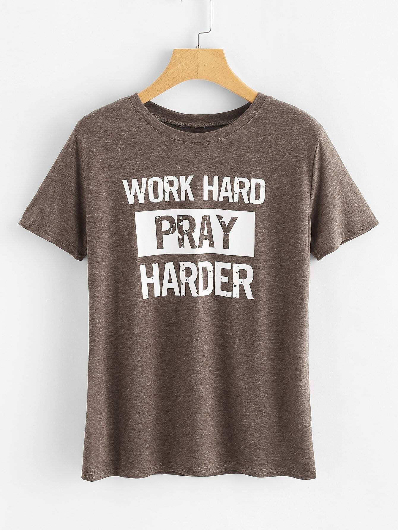 Slogan Print T-shirt heather blue slogan print t shirt