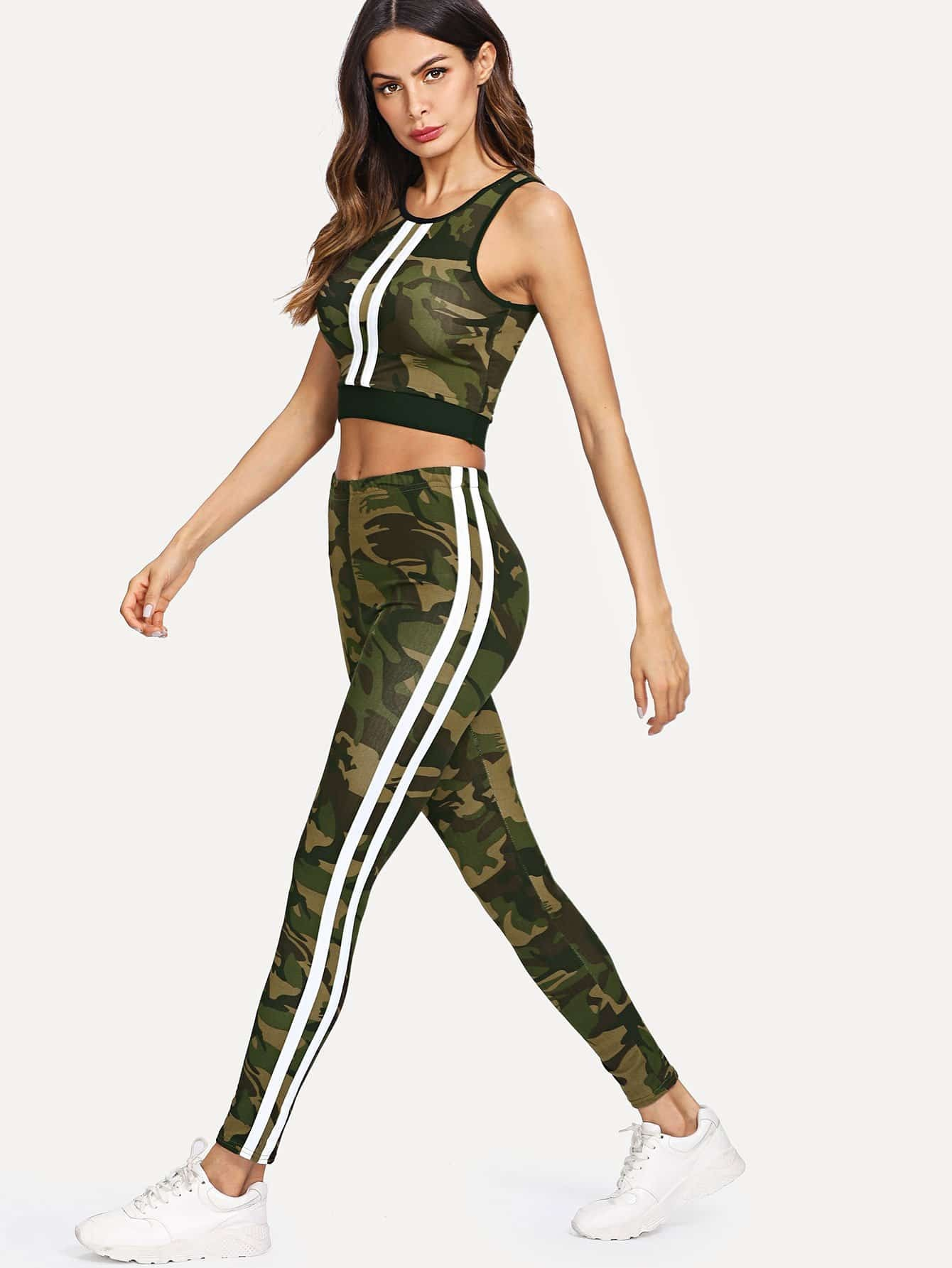 Camo Print Crop Tank Top With Tape Side Leggings letter print tape crop top with leggings set