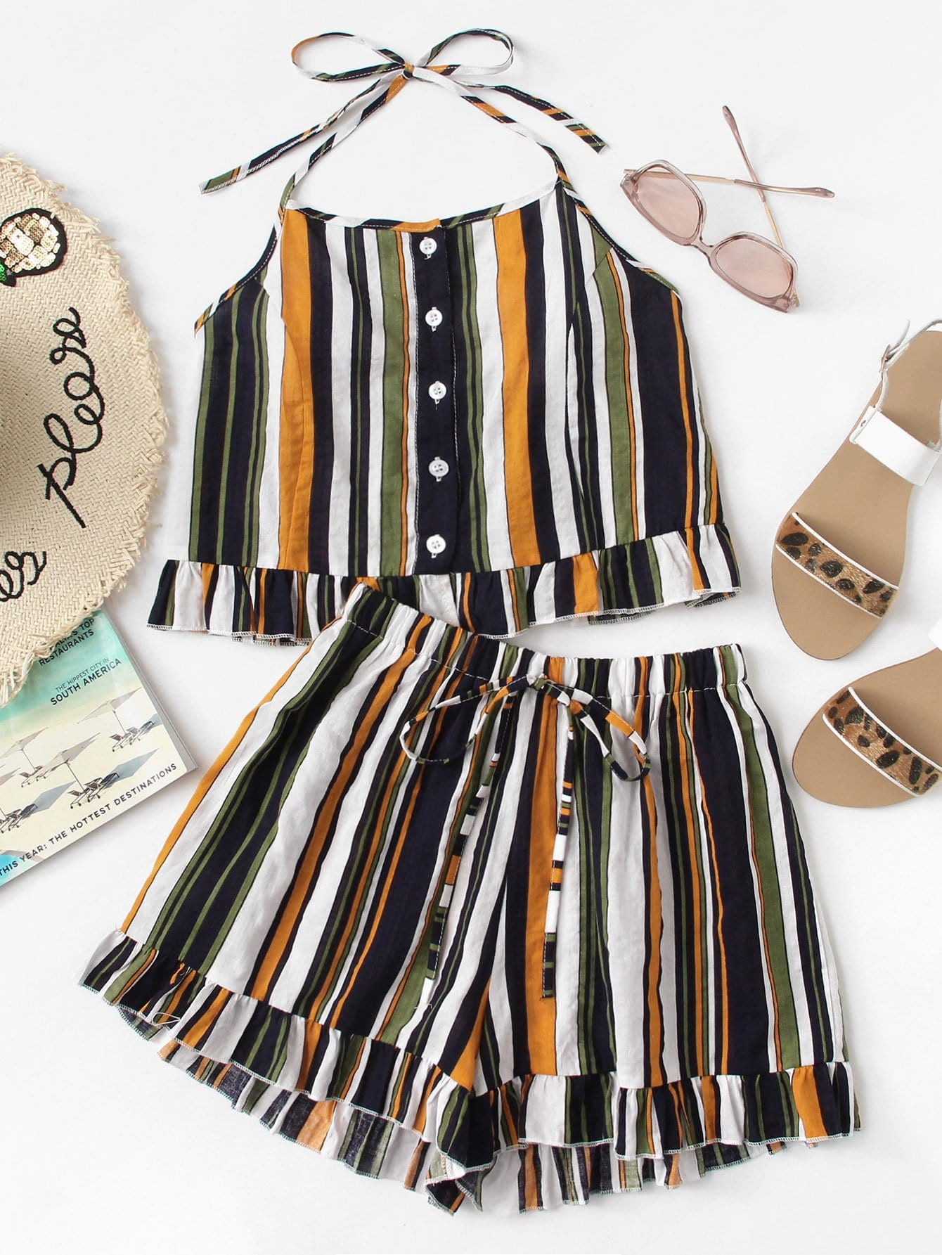 Ruffle Hem Striped Halter Top With Shorts chic wavy hem design striped shorts for women