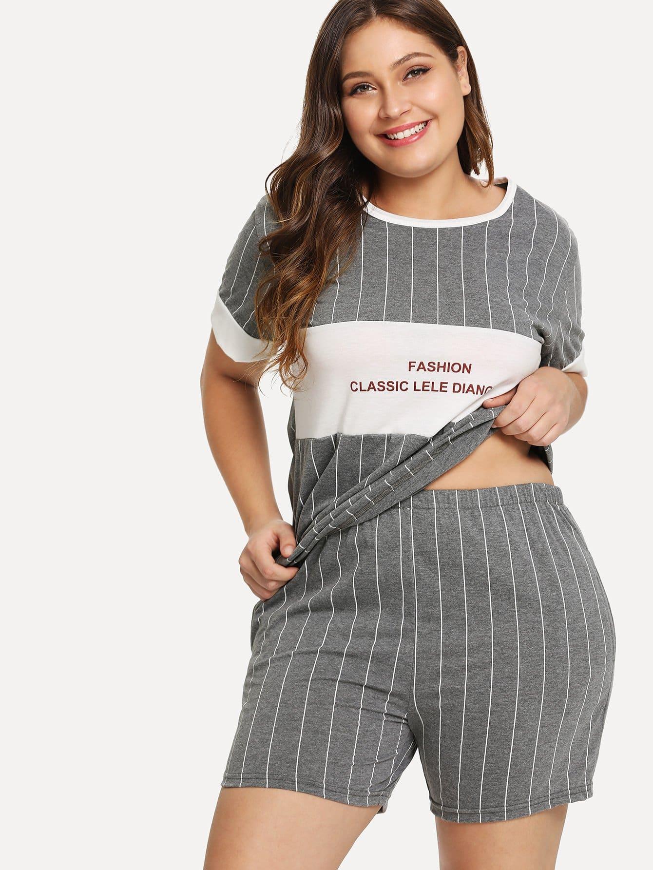 Купить Комплект пижамы топ с полосками и надписью и шорты, Carol, SheIn