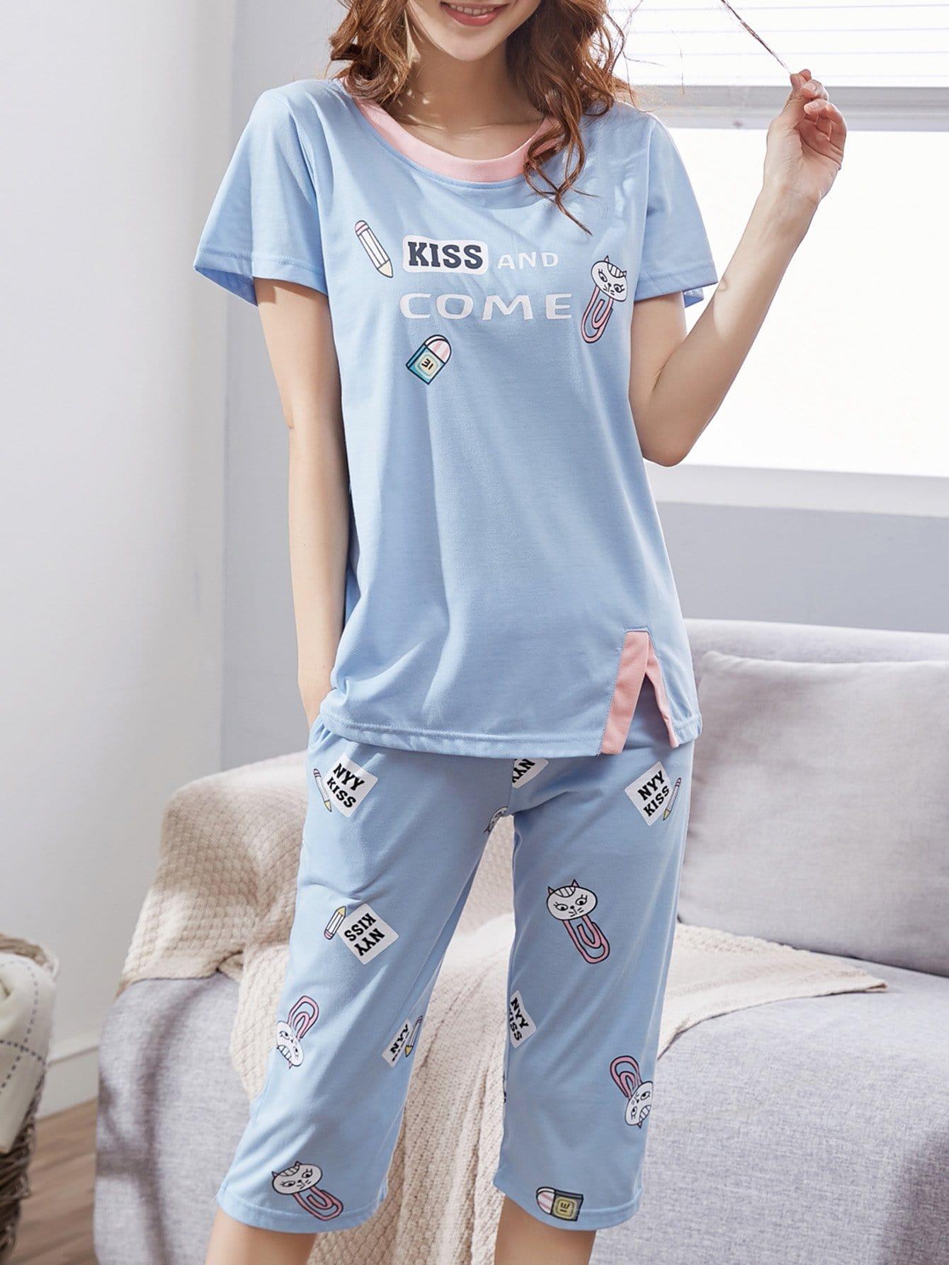Купить Комплект пижамы с принтом мультики и надписью, null, SheIn