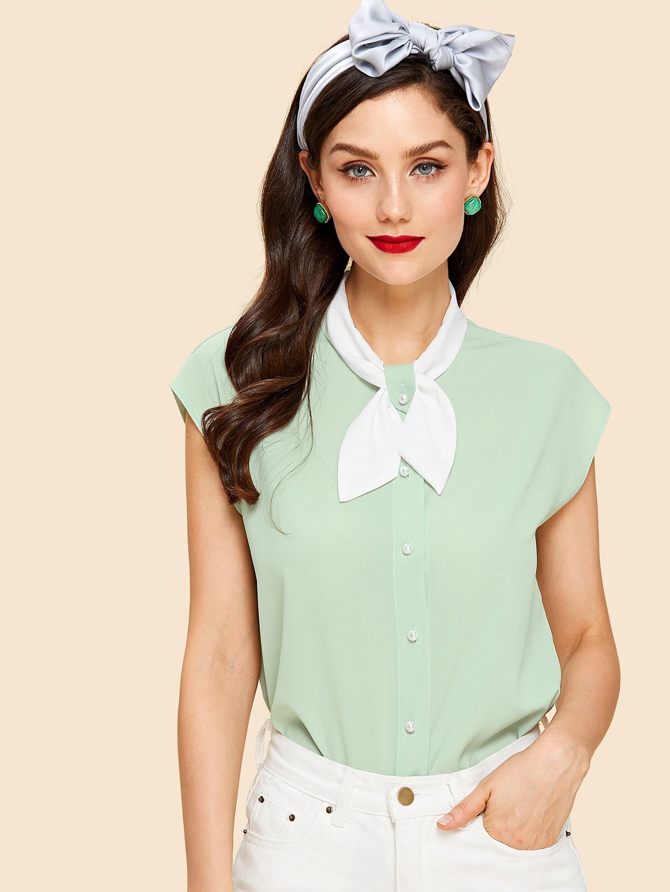 Contrast Buttoned Bow Collar Neck Blouse striped asymmetric buttoned neck blouse