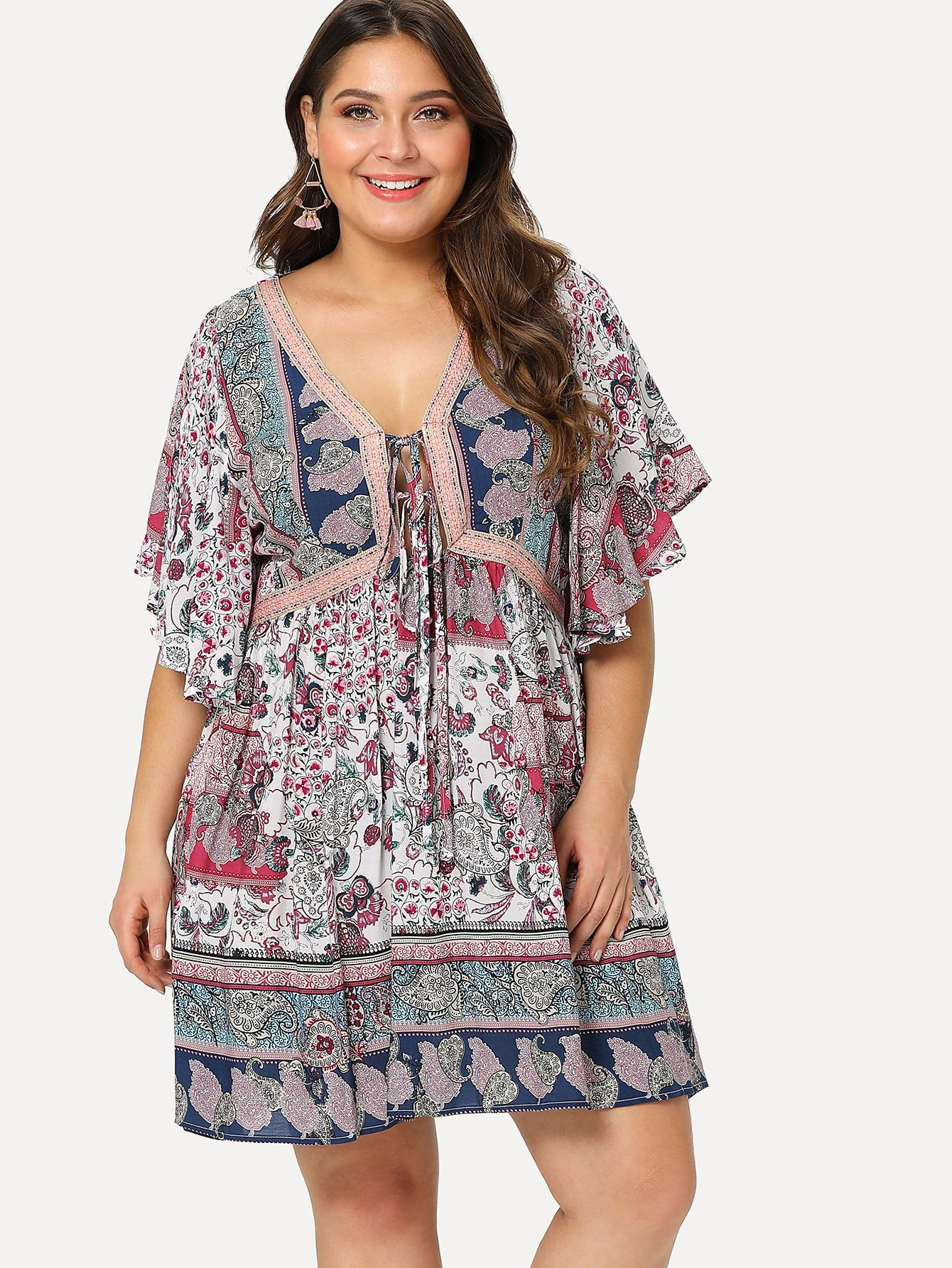Tribal Print Flutter Sleeve Dress tribal print dress