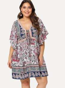 Tribal Print Flutter Sleeve Dress