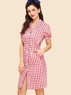 Shawl Collar Puff Sleeve Button Up Gingham Dress