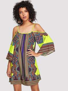 Geo Print Cold Shoulder Dress