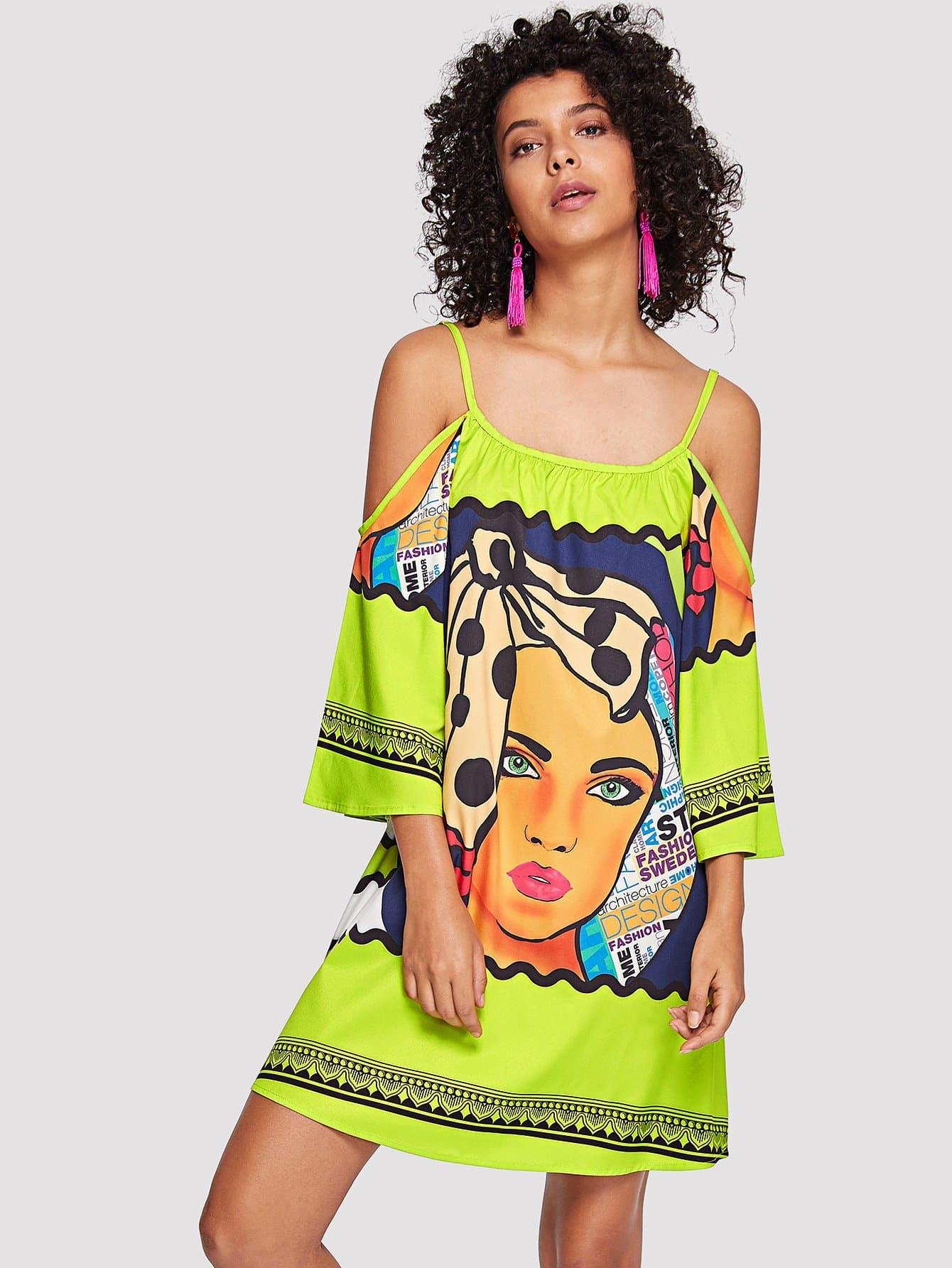Купить Платье с открытыми плечами и принтом мультики, Starl Lane, SheIn