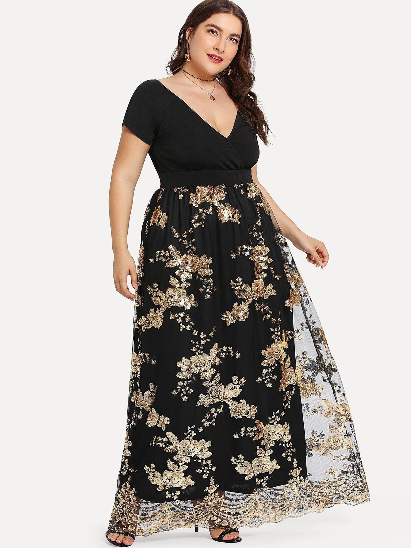 Купить Размера плюс сетчатое платье с запахом и пайетками, Franziska, SheIn