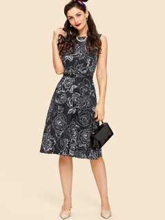 Rose Print Sleeveless Dress