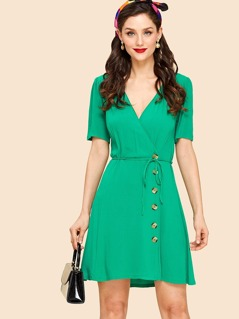 Puff Sleeve Wrap Front Buttoned Dress