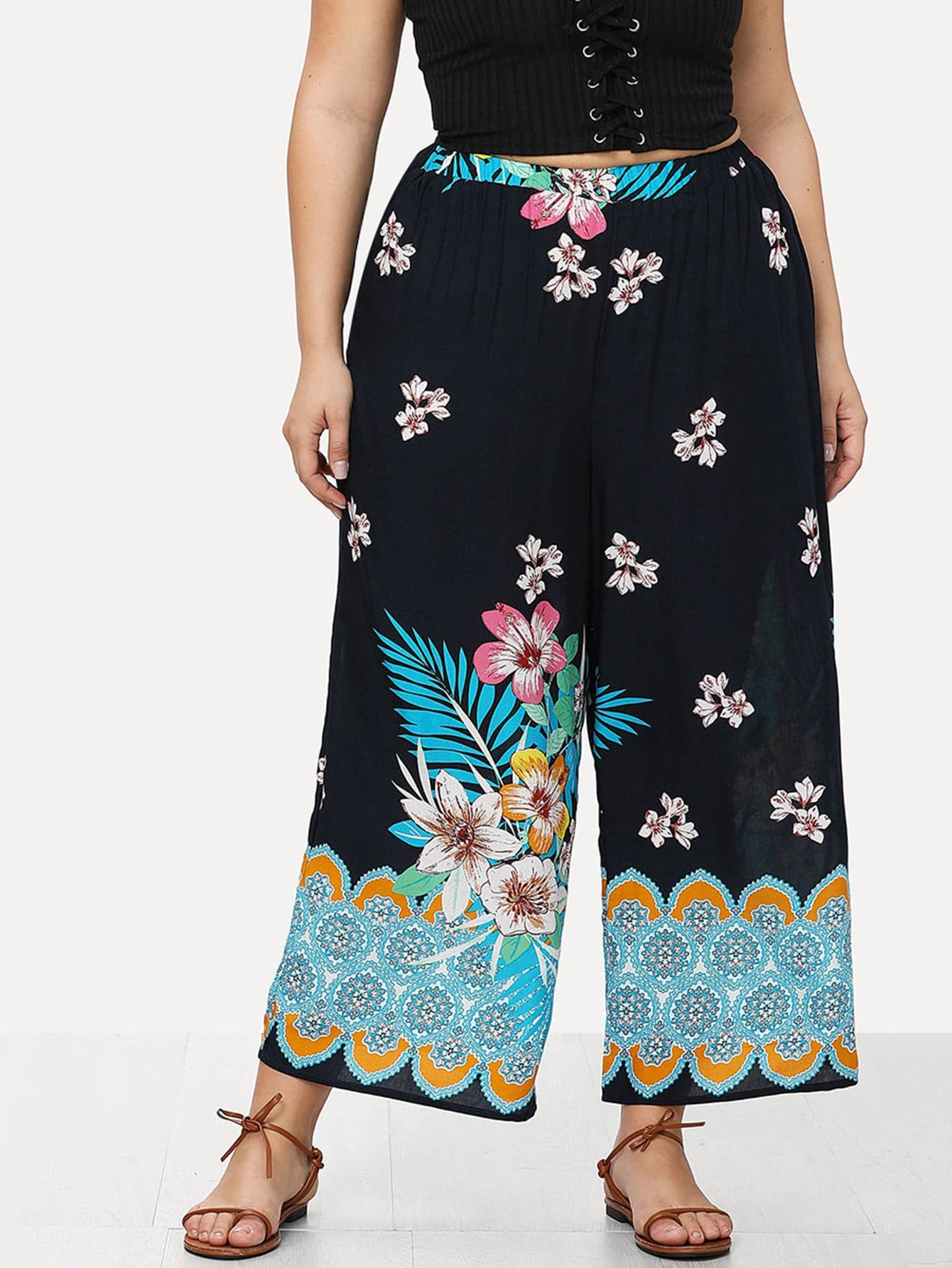 Flower Print Wide Leg Pants все цены