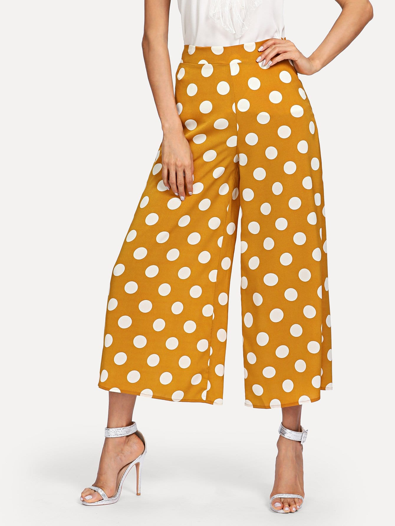 Polka Dot Zip Side Wide Leg Pants bow tie side wide leg pants