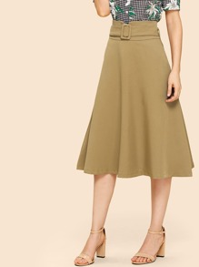 Buckle Belted Pencil Skirt