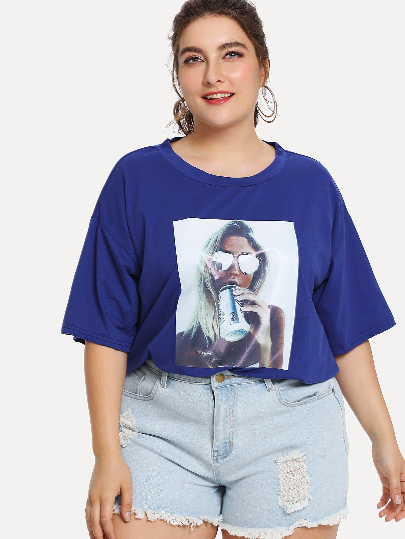 Figure Print Drop Shoulder Tee open shoulder figure print longline tee