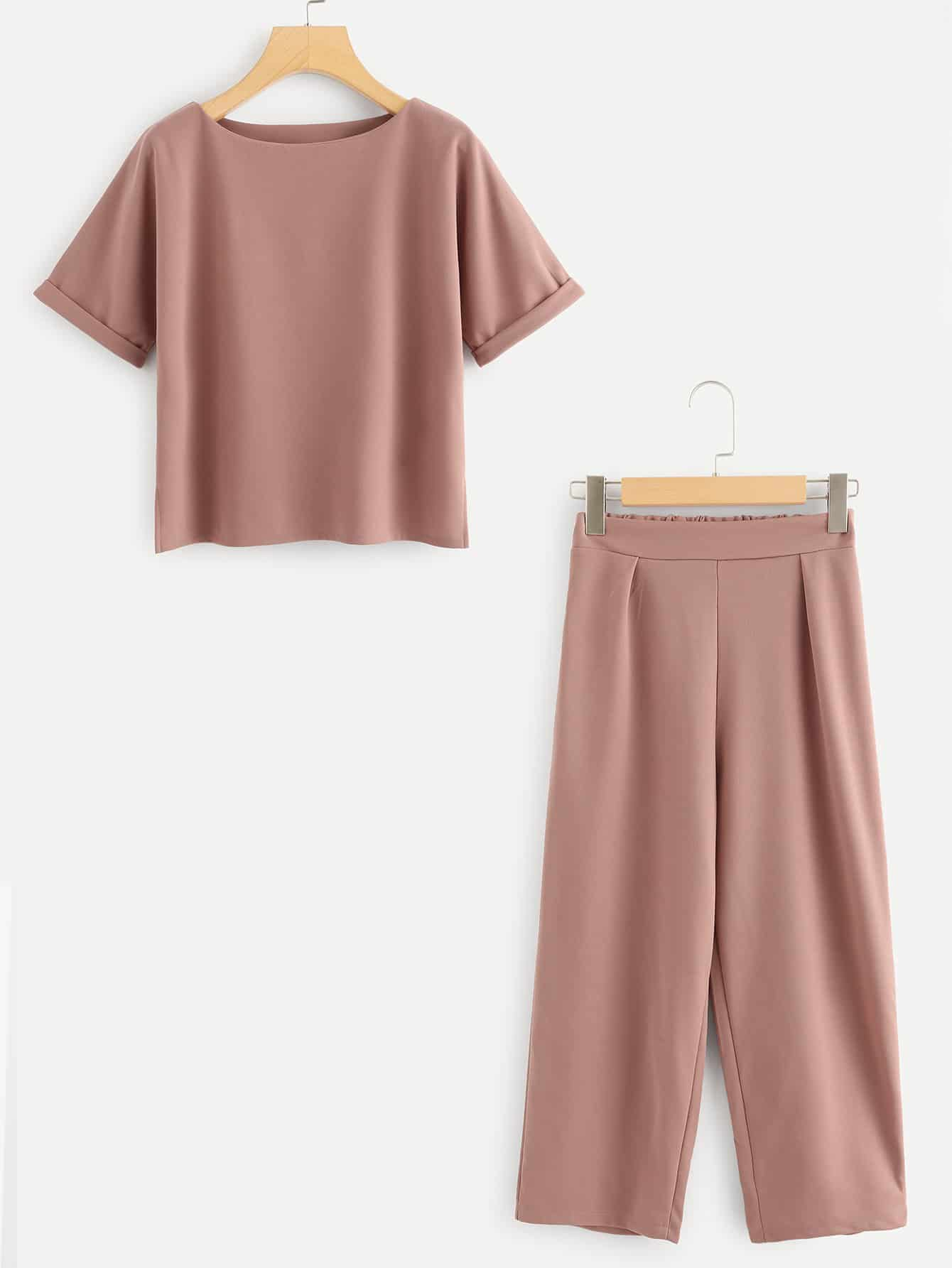 Solid Rolled Cuff Top With Pants solid rolled hem pants