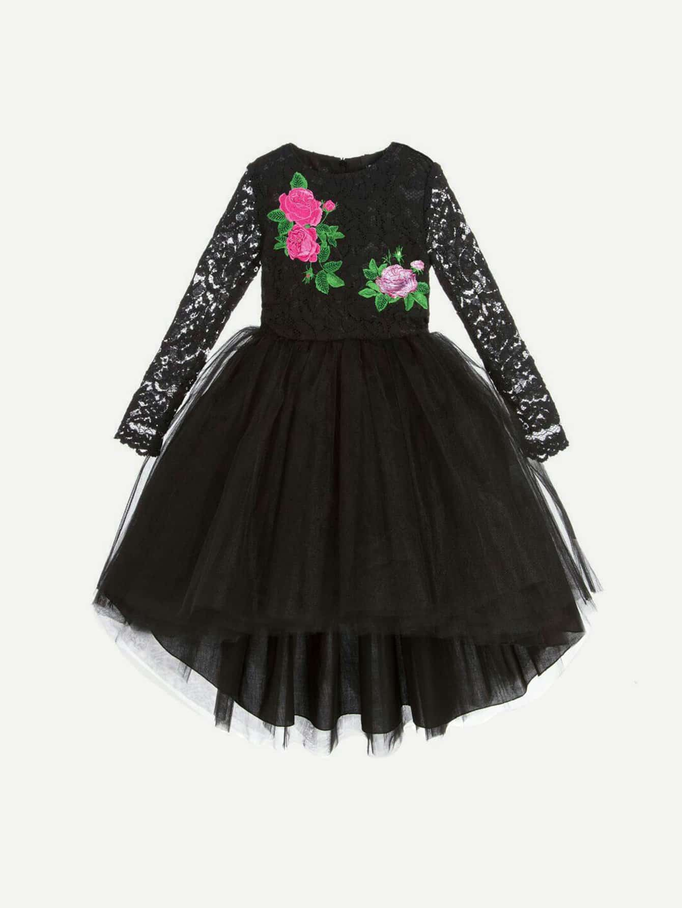 Girls Applique Dip Hem Lace Dress