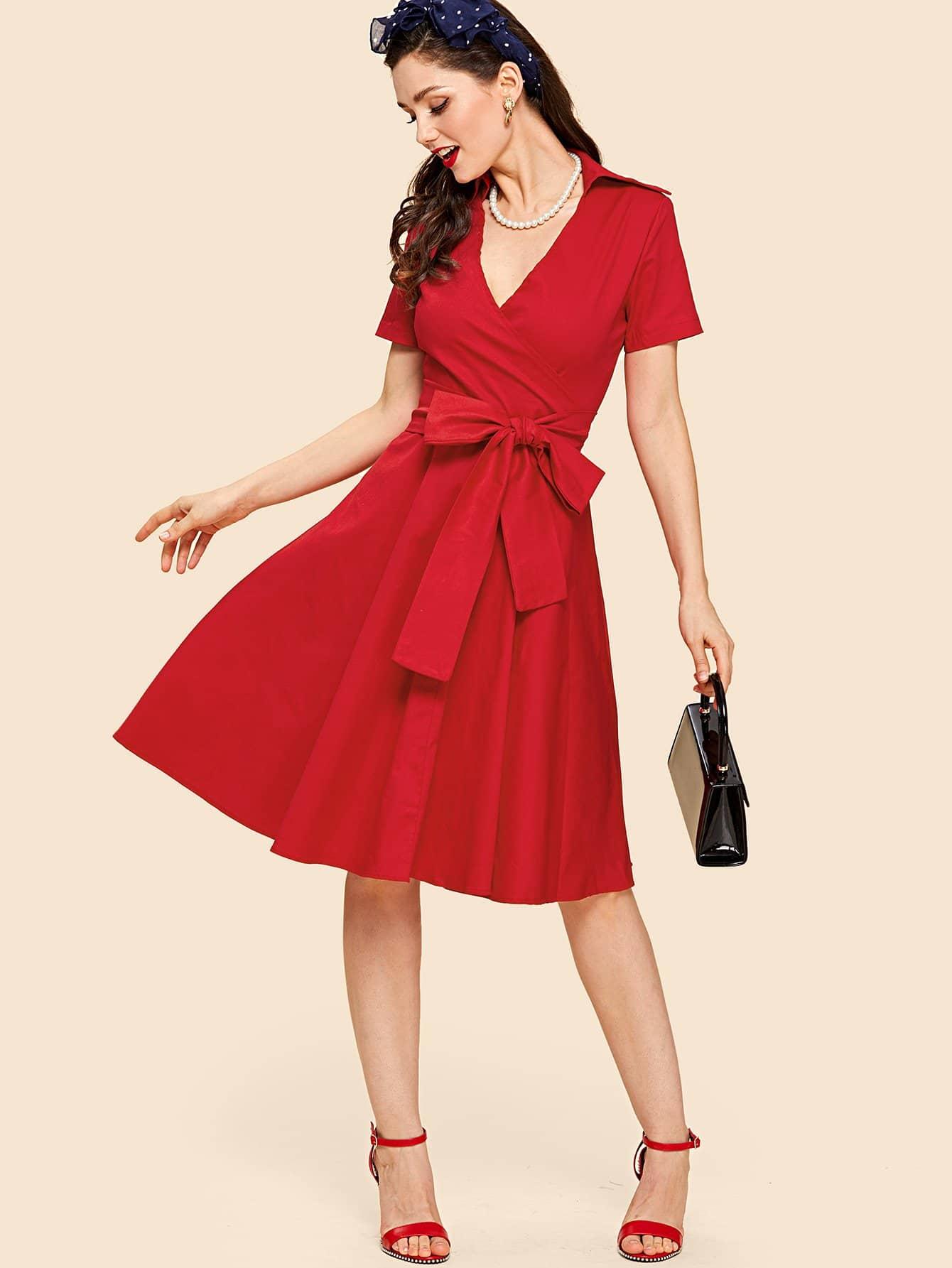 V Neckline Knot Front Wrap Dress wrap knot swimsuit