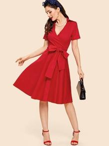 V Neckline Knot Front Wrap Dress