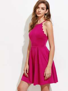 Scallop Trim Fit & Flare Halter Dress