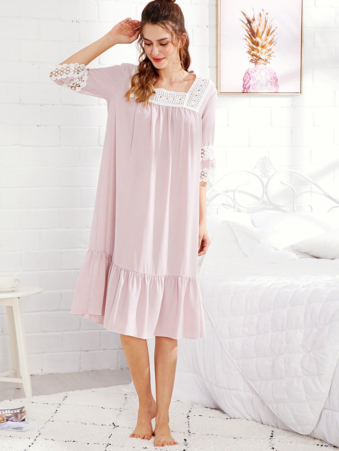 Купить Ночное платье с оборками и кружевами, Jana, SheIn