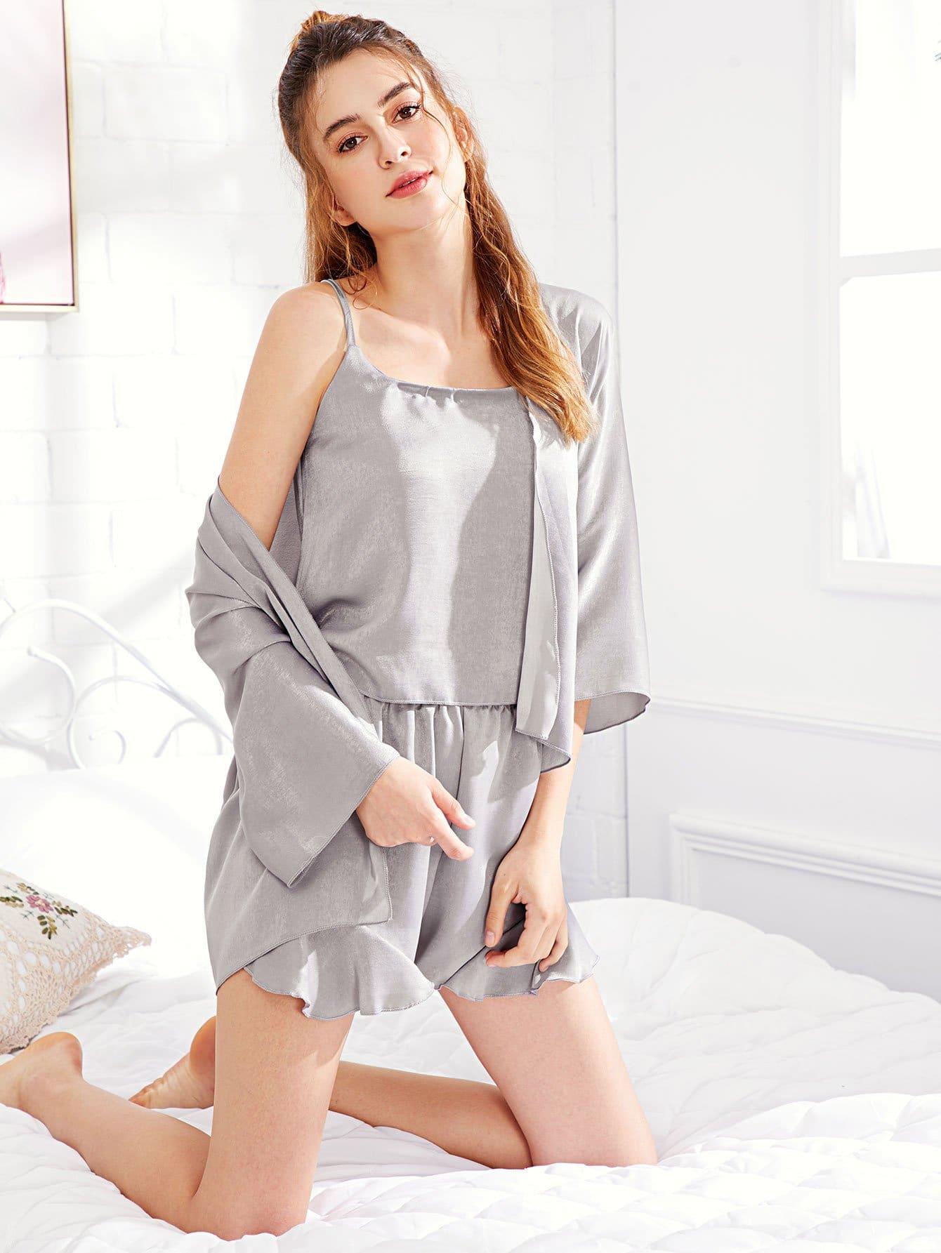 4Pcs Solid Ruffle Hem Pajama Set ruffle hem solid pajama set with eye mask