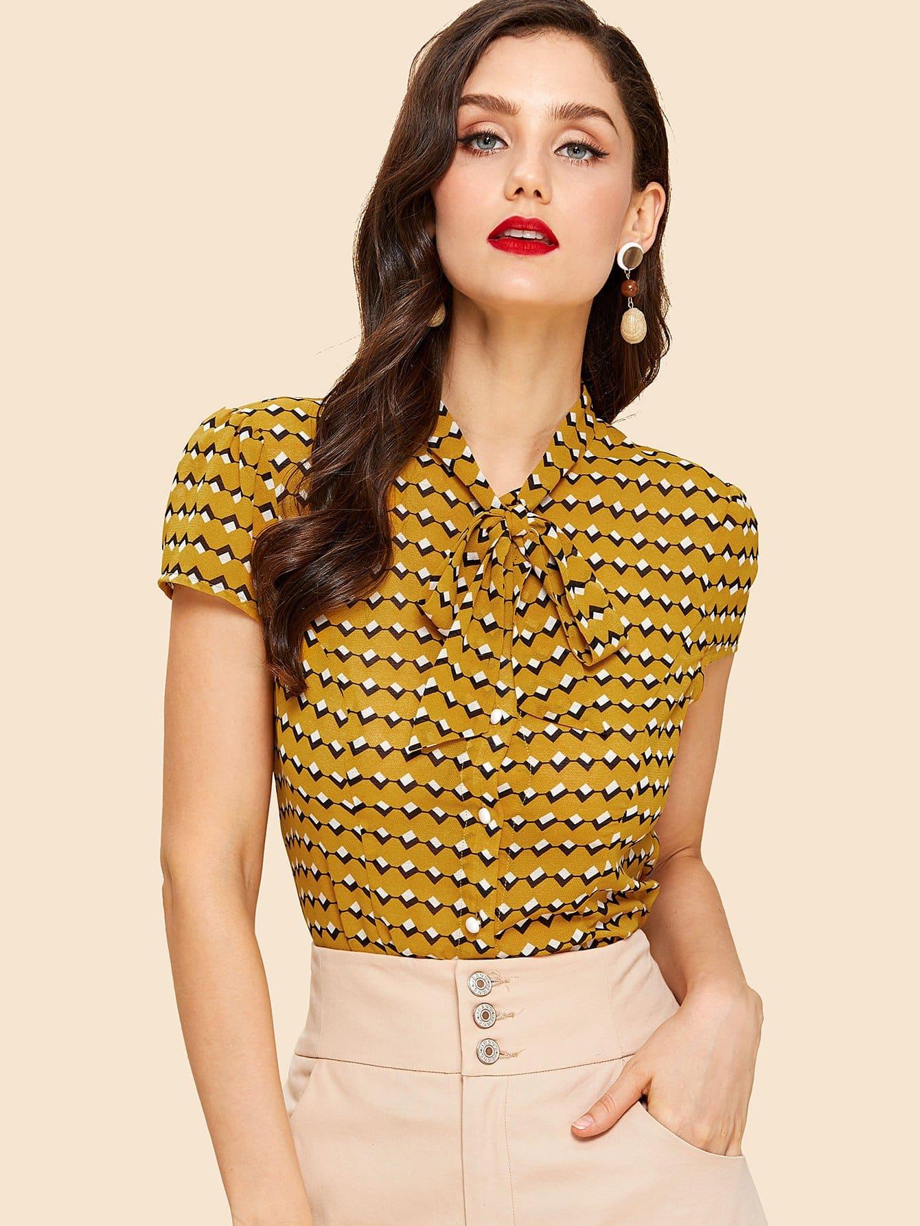 Geo Print Tied Neck Shirt tied neck geo print flare dress