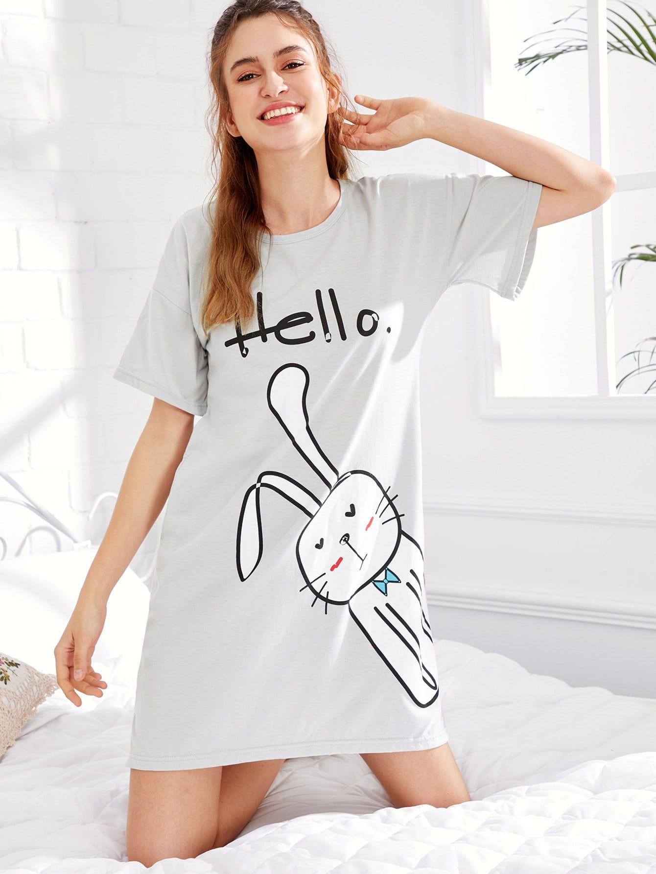 Rabbit Print Split Side Dress rabbit print pullover