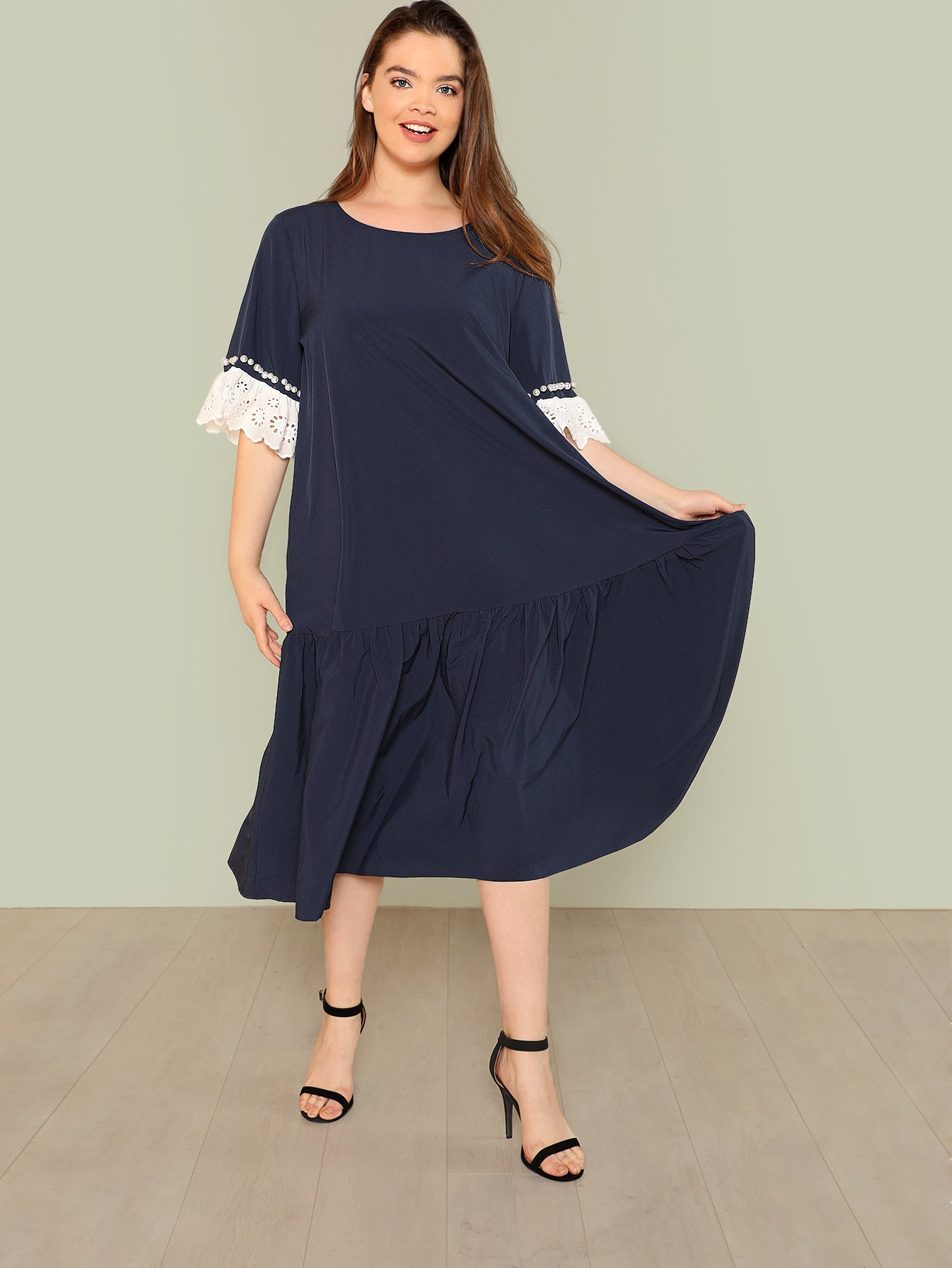 Lace Trim Ruffle Hem Dress