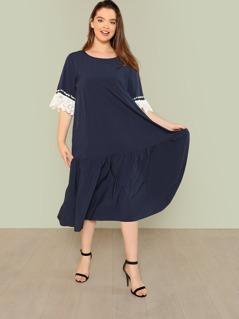 Plus Lace Trim Ruffle Hem Dress