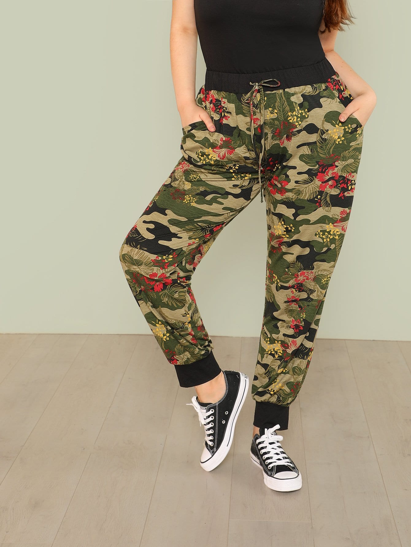 Plus Drawstring Detail Floral & Camo Leggings цена 2017