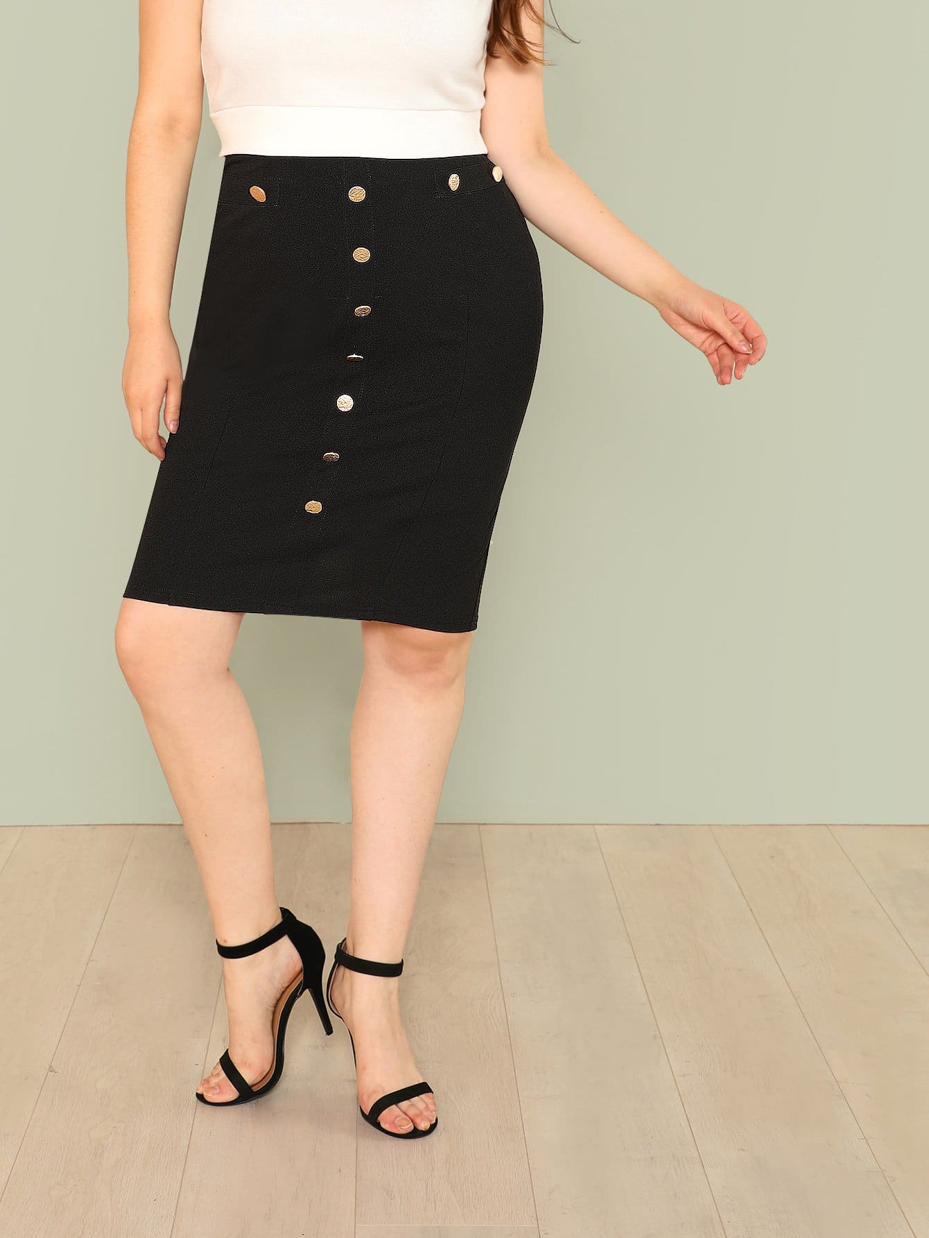 Button Up Pencil Skirt button side stripe pencil skirt