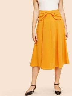 Bow Detail Zip Back Flare Skirt