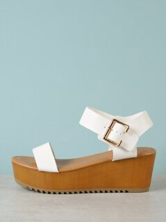 Thick Buckled Ankle Strap Single Band Wedge Sandal