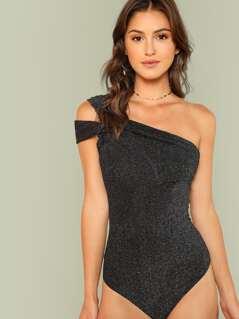 Asymmetrical Shoulder Solid Skinny Bodysuit