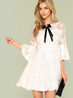 Bow Detail Floral Lace Panel Fit & Flare Dress