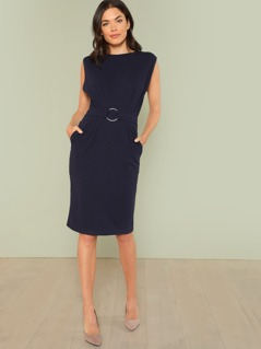 O-Ring Belted Batwing Dress