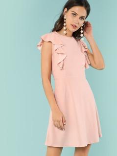 High Waist Solid Ruffle Dress