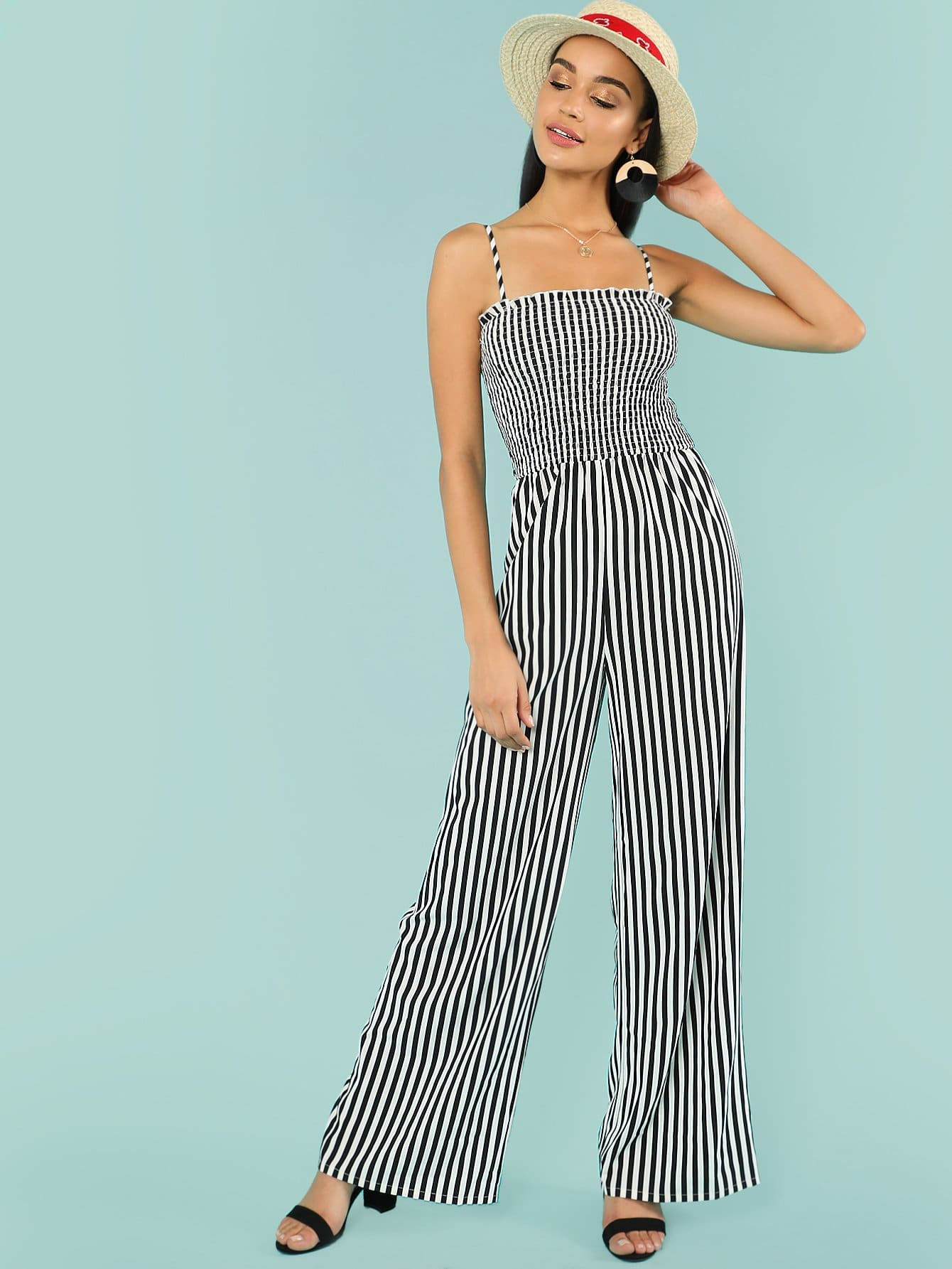 Vertical Striped Wide Leg Cami Jumpsuit striped backless wide leg jumpsuit