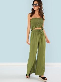 Frilled Shirred Bandeau Crop Top & Wide Leg Pants Set